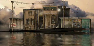 Cidade urbana inundada Ilustração Stock