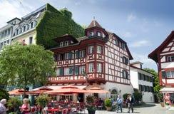Cidade velha das casas de moldação da madeira do vintage da lucerna switzerland Fotografia de Stock