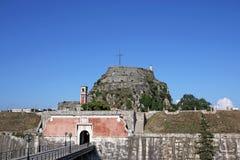 Cidade velha de Corfu da entrada da fortaleza Fotos de Stock Royalty Free