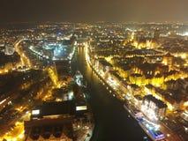 Cidade velha de Gdansk pela opinião aérea da noite imagem de stock royalty free