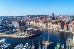 Cidade velha de Gdansk, Polônia Vista aérea com monumentos principais, ruínas Foto de Stock