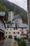 Cidade velha de Hallstatt, Áustria fotografia de stock