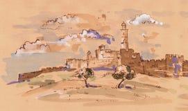 Cidade velha de Jerusalem ilustração royalty free