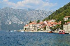 A cidade velha de Perast na baía de Kotor, Montenegro Fotografia de Stock