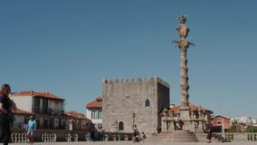 Cidade velha de Porto em Portugal - timelapse Europa da igreja do castelo do centro da cidade do fundo da arquitetura para parar  filme