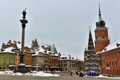 Cidade velha de Varsóvia no inverno Imagens de Stock Royalty Free
