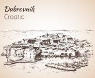 Cidade velha Dubrovnik, Croácia esboço Imagens de Stock
