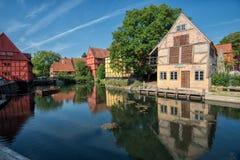 A cidade velha em Aarhus, Dinamarca Fotos de Stock Royalty Free