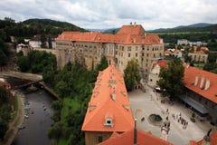 Cidade velha em Cesky Krumlov, República Checa, Czechia, herança Fotos de Stock Royalty Free