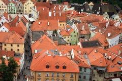 Cidade velha em Cesky Krumlov, República Checa, Czechia, herança Fotografia de Stock