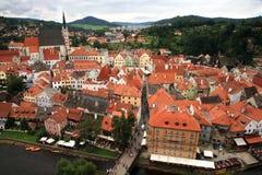 Cidade velha em Cesky Krumlov, República Checa, Czechia, herança Foto de Stock