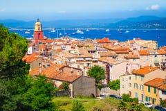 Cidade velha em St Tropez, Provence, França fotos de stock
