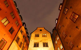 Cidade velha (Gamla Stan) em Éstocolmo na noite Fotografia de Stock