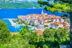 Cidade velha Korcula na Croácia Fotos de Stock Royalty Free