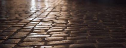 Cidade velha Lviv, Ucrânia: Rua da pedra de pavimentação da noite Fotografia de Stock