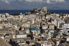 Cidade velha na ilha de Corfu Fotografia de Stock