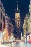 Cidade velha na noite, Krakow Imagens de Stock