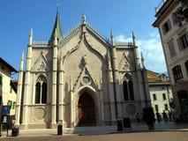 Cidade velha, parte da fachada da igreja, Trento Fotografia de Stock Royalty Free