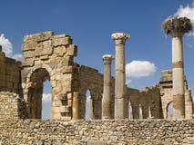 Cidade velha romana de Volubilis. Imagem de Stock