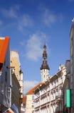 Cidade velha, Tallinn, Estónia As casas velhas na rua e em uma câmara municipal elevam-se foto de stock