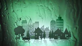 Cidade verde de Eco no fundo abstrato da água ilustração do vetor
