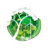 Cidade verde para a conservação do ambiente ilustração royalty free