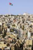 Cidade vista da parte superior da citadela, Jordânia de Amman Fotografia de Stock