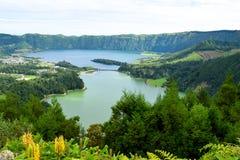 7 cidades盐水湖蓝色盐水湖,绿色laggon 免版税库存照片