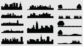 Cidades da silhueta de Landscpace Imagens de Stock Royalty Free