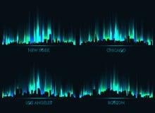 Cidades de néon do americano da skyline ilustração do vetor