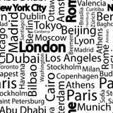 Cidades do teste padrão sem emenda do mundo fundo sem emenda do teste padrão com nomes das cidades Teste padrão sem emenda com no ilustração do vetor
