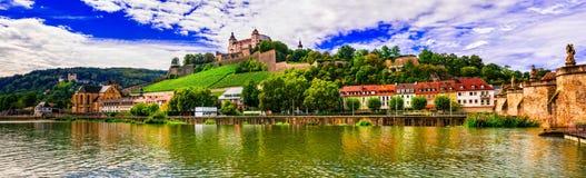 Cidades e lugares bonitos de Alemanha - Wurzburg pitoresco, não Fotos de Stock