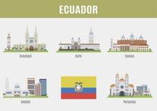 Cidades em Equador ilustração stock