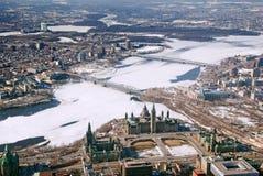 Cidades gêmeas Ottawa Ontário e Gatineau Quebeque Imagem de Stock