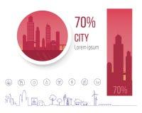Cidades poluídas 70 por cento, problema da poluição Fotos de Stock Royalty Free