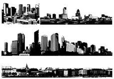 Cidades preto e branco do panorama Fotos de Stock Royalty Free