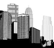 Cidades preto e branco do panorama Imagem de Stock Royalty Free