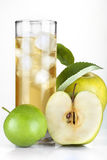 Cider and apple. On ice on white background stock photo