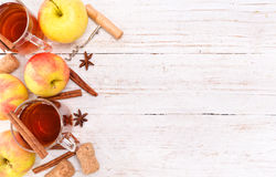 Cider. Background. Cider in a glass on a white wooden table stock images