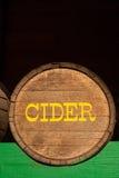 Cider barrel. A cider barrel in local farmers market, Washington state stock photography