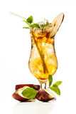 Cider cocktail garnished with a apple Royalty Free Stock Image