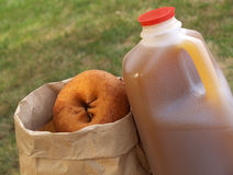 Cider and donuts Stock Images
