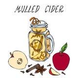 Cidra quente em Mason Jar Ou vinho branco ferventado com especiarias Bebida de aquecimento Menu da barra Coleção da colheita do o ilustração do vetor