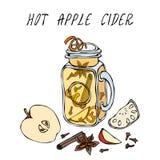 Cidre d'Apple chaud en Mason Jar Ou vin blanc chauffé Boisson de chauffage Menu de barre Collection de récolte d'automne Haute ti illustration de vecteur