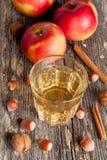 Cidre de pomme et épices épicés sur une table en bois, plan rapproché Image libre de droits