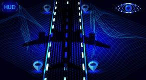 Cień samolot na noc pasie startowym Ramowy krajobraz GPS nawigacja ilustracja royalty ilustracja