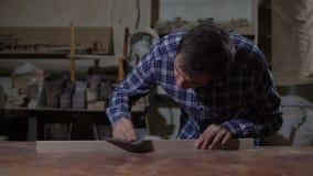 Cieśla poleruje drewnianą deskę z szklakiem na desktop Praca w ciesielka warsztacie zdjęcie wideo