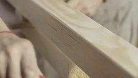 Cieśli barwidła lakieru długa drewniana deska farba rolownikiem Proces traktowanie zdjęcie wideo