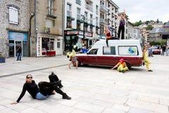 Cie Elan C'. Aurillac International Street Theatre Festival in France, 2010. Show, La voiture de mon bof by La Cie Elan C'. 500 artistics teams,2569 artists,590 stock photography