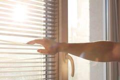 Ciechi di finestra maschii di apertura della mano nella mattina soleggiata Spazio vuoto fotografia stock libera da diritti